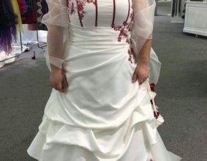 Robe mariage grande taille ivoire et rouge