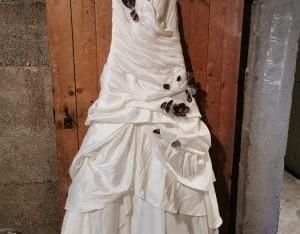 Robe de marié à fleur marron