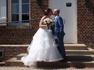 Robe de mariée Bustier et jupe à volant