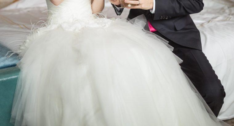 Robe de mariée bustier blanc cassé ajustable 36-38